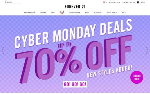 Screenshot of Home Page forever21.com - Shop Forever 21 for the latest trends and the best deals | Forever 21 - captured Nov. 30, 2015