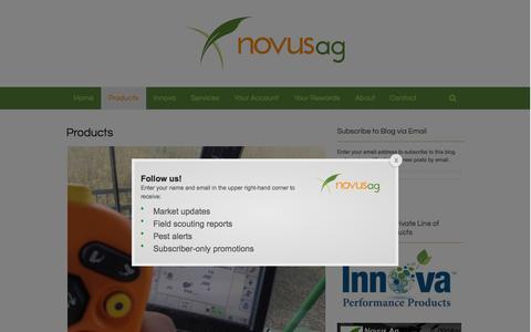 Screenshot of Products Page novusag.com - Products | Novus Ag - captured Sept. 22, 2015