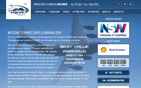Screenshot of Home Page wingsoverillawarra.com.au - Wings Over Illawarra 2016 - TICKETS ON SALE NOW!! - captured Feb. 24, 2016