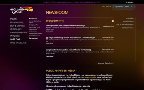 Screenshot of Press Page hollandcasino.nl - Newsroom | Holland Casino - captured Oct. 30, 2014