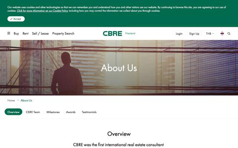 Screenshot of About Page cbre.co.th - CBRE Overview | 1st International Real Estate Firm in Thailand | CBRE Thailand - captured Aug. 9, 2019
