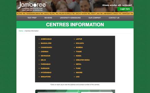 Screenshot of Contact Page jamboreeindia.com - Best GMAT/ GRE/ SAT Coaching Centre in Delhi, Mumbai, Chennai - captured Oct. 16, 2017