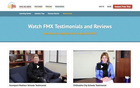 Screenshot of Testimonials Page gofmx.com - FMX Testimonials - Facilities Management eXpress - captured Feb. 9, 2016