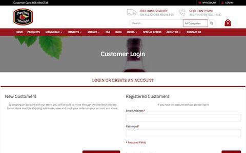 Screenshot of Login Page purefruittechnologies.com - Customer Login - captured Nov. 15, 2016
