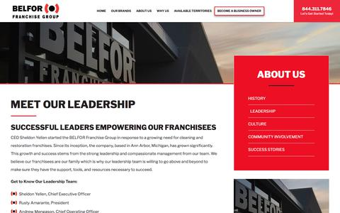 Screenshot of Team Page belforfranchisegroup.com - Leadership at BELFOR Franchise Group | Franchise Opportunity - captured March 17, 2018