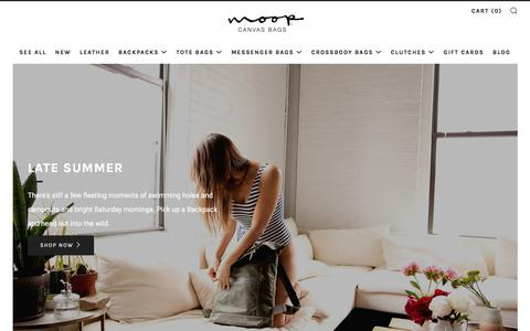 Screenshot of Home Page moopshop.com - Handmade canvas and waxed canvas bags for men and women. Made in USA. – Moop - captured Sept. 22, 2018