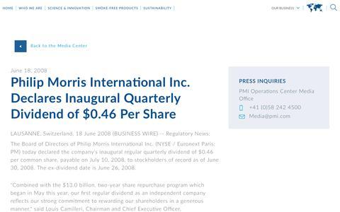 Screenshot of Press Page pmi.com - Philip Morris International Inc. Declares Inaugural Quarterly Dividend of $0.46 Per Share - captured Nov. 1, 2018