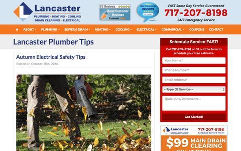 Screenshot of Blog lph.biz - Plumber Tips - Plumbing Repairs Tips, Heating Services Tips - Lancaster Plumbing, Heating & Cooling - captured Oct. 20, 2016