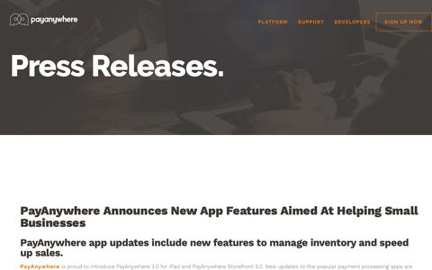 Screenshot of Press Page payanywhere.com - PayAnywhere Announces New App Features Aimed At Helping Small Businesses | PayAnywhere - captured Sept. 28, 2018