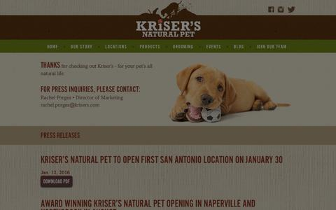Screenshot of Press Page krisers.com - Press Releases & Media Coverage | Kriser's - captured Jan. 26, 2016