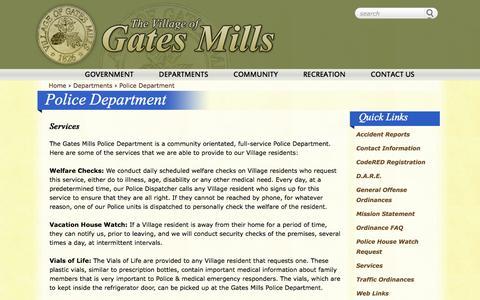 Screenshot of Services Page gatesmillsvillage.com - Services   Police Department    Village of Gates Mills - captured Jan. 26, 2016