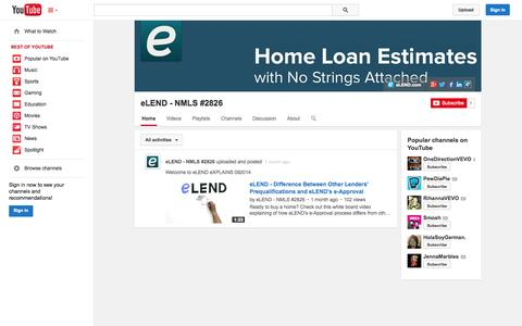 Screenshot of YouTube Page youtube.com - eLEND - NMLS #2826  - YouTube - captured Oct. 22, 2014