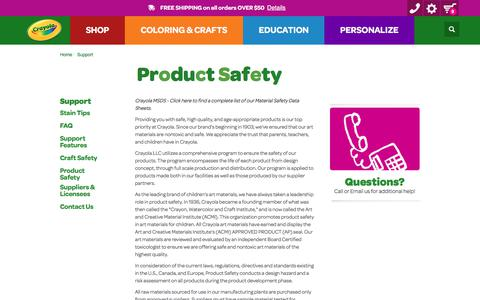 Screenshot of Support Page crayola.com - Product Safety | crayola.com - captured June 2, 2017