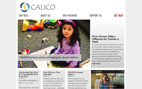 Screenshot of Home Page calicocenter.org - Welcome to CALICO - The Child Abuse Listening, Interviewing and Coordination Center — Homepage —  CALICO - captured Oct. 1, 2014
