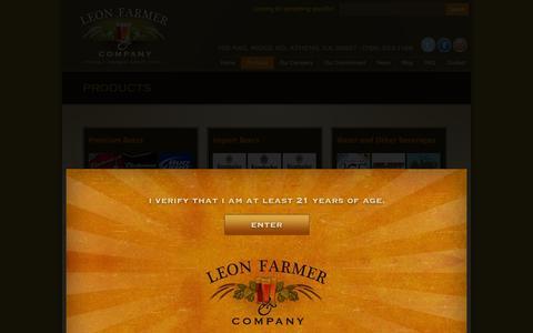 Screenshot of Products Page leonfarmer.com - Wholesale Beer Distributor - Beverage & Craft Beer Distribution    Leon Farmer & Company - captured Oct. 2, 2014