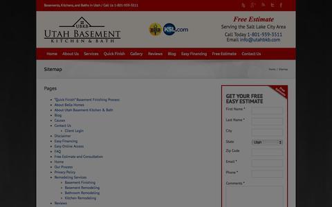 Screenshot of Site Map Page utahbkb.com - Sitemap - Utah Basement Kitchen and Bath - captured Oct. 6, 2014