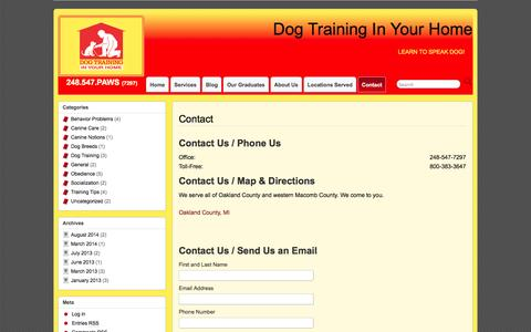 Screenshot of Contact Page obedientpaws.com - Expert Obedience Trainer Royal Oak - Dog Training in Your Home - captured Oct. 1, 2014