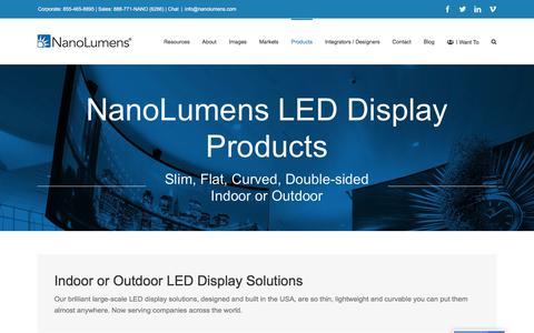 Screenshot of Products Page nanolumens.com - NanoLumens LED Display Products - NanoLumens - captured Aug. 22, 2019