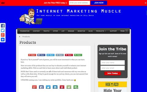 Screenshot of Products Page internet-marketing-muscle.com - Products - captured Sept. 30, 2014