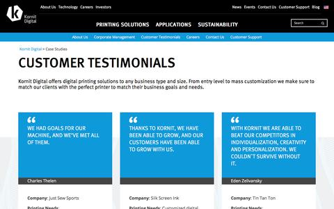 Screenshot of Case Studies Page kornit.com - Customer Testimonials Archives - Kornit Digital - captured Oct. 17, 2017