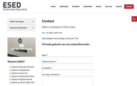 Screenshot of Contact Page esed.nl - Contact | ESED - captured July 11, 2017