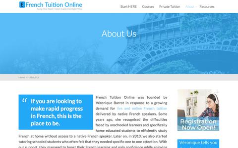 Screenshot of About Page efrenchtuitiononline.com - About Us - EFrench Tuition Online - captured Feb. 16, 2018