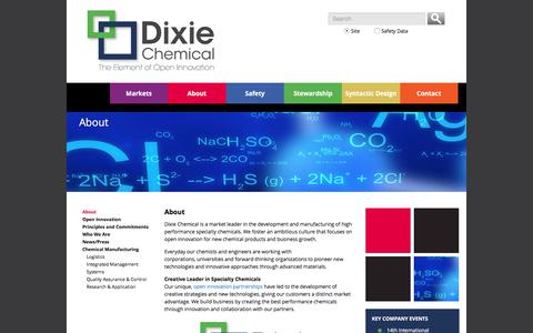 Screenshot of About Page dixiechemical.com - Specialty Chemicals Market Leader Dixie Chemical - captured Oct. 12, 2017