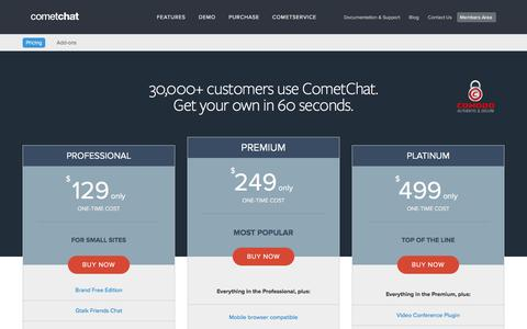 Screenshot of Pricing Page cometchat.com - Buy CometChat - Only $49 one-time cost | CometChat - captured Nov. 25, 2015