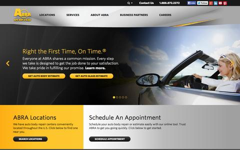 Screenshot of Home Page abraauto.com - Auto Body, Auto Glass & Windshield Repair | Paintless Dent Removal | ABRA - captured Sept. 23, 2014