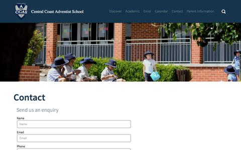 Screenshot of Contact Page ccas.nsw.edu.au - Central Coast Adventist School | Contact - captured Jan. 9, 2017