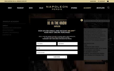 Screenshot of About Page napoleonperdis.com - About the Makeup Academy - captured Jan. 24, 2017