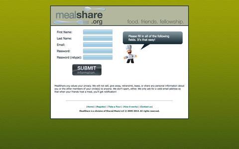 Screenshot of Signup Page mealshare.org - MealShare.org - Registration - captured Oct. 4, 2014