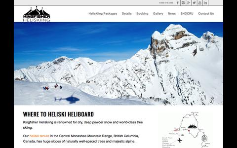 Screenshot of Home Page kingfisherheliskiing.com - Kingfisher Heliskiing | Heliski and Heliboard | BC Canada - captured Jan. 9, 2016