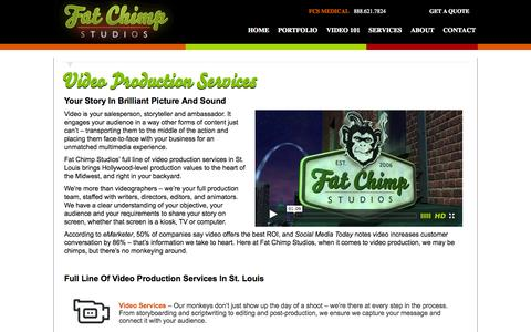 Screenshot of Services Page fatchimpstudios.com - Video Production Services in St. Louis | Fat Chimp Studios - captured Oct. 29, 2014