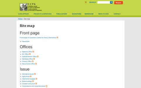 Screenshot of Site Map Page policyalternatives.ca - Site map | Canadian Centre for Policy Alternatives - captured Oct. 1, 2014