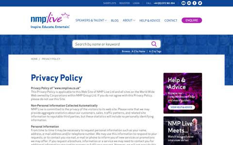 Screenshot of Privacy Page nmplive.co.uk - NMP Live | Speaker Bureau & Celebrity Booking Agency - captured Oct. 12, 2018