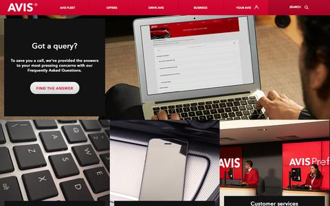 Screenshot of Contact Page avis.co.uk - Car hire query? Contact Avis by phone, form or email - captured Sept. 23, 2014