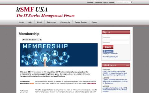 Screenshot of Signup Page itsmfusa.org - Membership - itSMF USA - captured Sept. 20, 2018