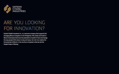 Screenshot of Home Page sci.ventures - Satoshi Citadel Industries - captured Oct. 4, 2014
