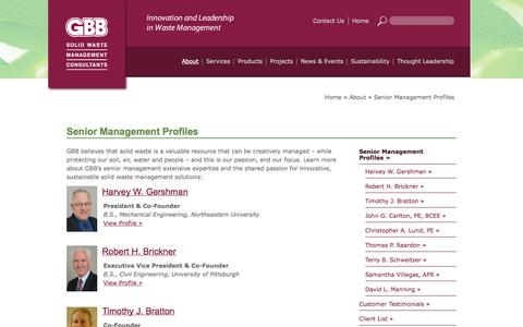 Screenshot of Team Page gbbinc.com - Senior Management Profiles and Expertise - captured Oct. 2, 2014