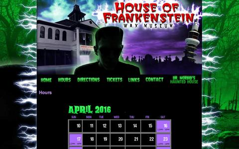 Screenshot of Hours Page frankensteinwaxmuseum.com - Open Hours at House of Frankenstein Wax Museum - Lake George, New York - captured June 20, 2016