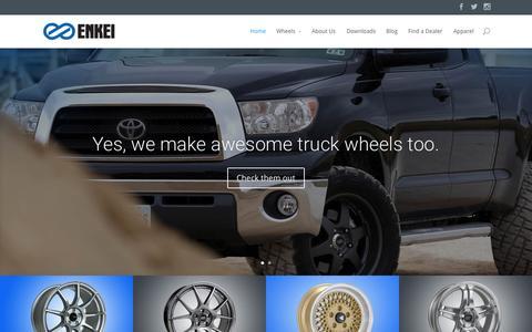 Screenshot of Home Page enkei.com - Enkei Wheels | The leader in lightweight aftermarket wheels - captured Oct. 1, 2015