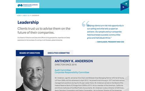 Screenshot of Team Page mmc.com - Leadership  | About | Marsh & McLennan Companies - captured May 22, 2018