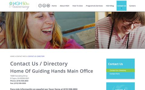 Screenshot of Contact Page guidinghands.org - Home Of Guiding HandsContact Us / Directory - Home Of Guiding Hands - captured Aug. 26, 2017