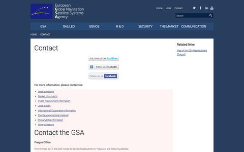 Screenshot of Contact Page europa.eu - Contact | European GNSS Agency - captured Oct. 8, 2014