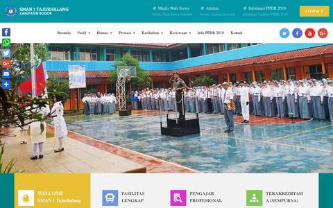 Screenshot of Home Page sman1-tajurhalang.sch.id - SMAN 1 Tajurhalang | SMA Negeri Berprestasi di Bogor – SMA Negeri Terbaik Bogor | Religius | Terfavorit | Berprestasi | Unggulan - captured Oct. 4, 2018