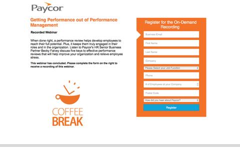 Screenshot of Landing Page paycor.com - Getting Performance out of Performance Management - captured Aug. 19, 2016
