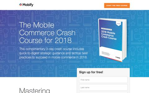 Screenshot of Landing Page mobify.com - The Mobile Commerce Crash Course for 2018 - captured Oct. 23, 2017