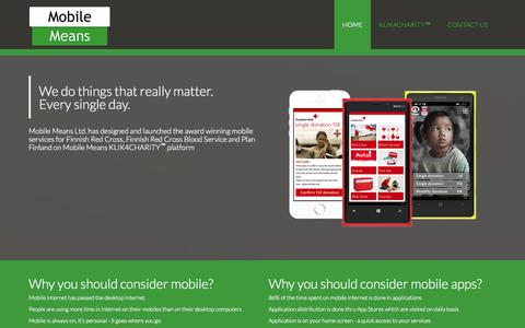 Screenshot of Home Page mobilemeans.com - HOME - Mobile Means Oy - captured Oct. 6, 2014