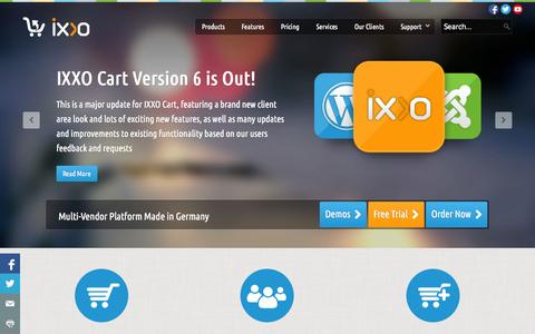 Screenshot of Home Page ixxocart.com - IXXO Shopping Cart Software - Multi Vendor Cart - captured Sept. 19, 2014